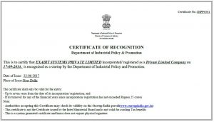 eXabit is recognized Startup India – eXabit Systems